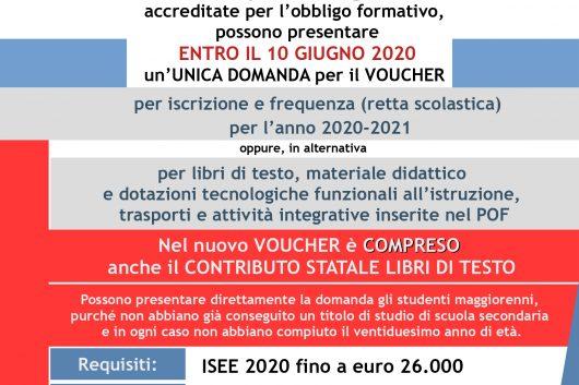 Voucher per il diritto allo studio per l'a.s. 2020/2021