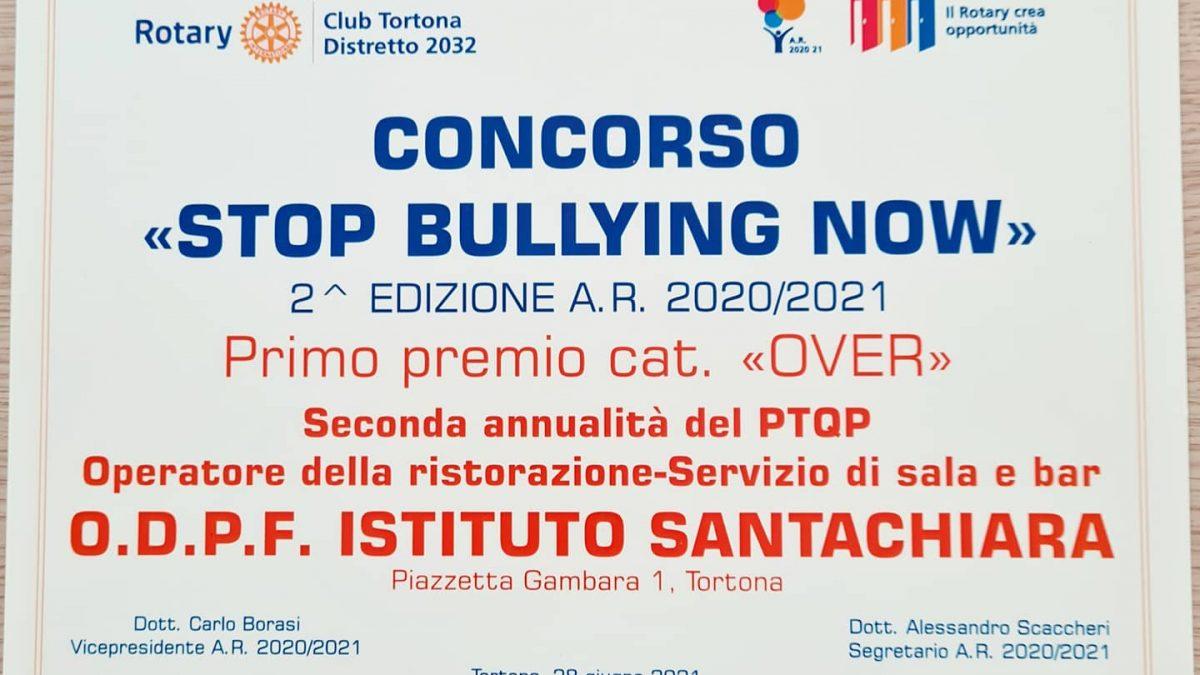 """CONCORSO """"STOP BULLYING NOW""""-PRIMO PREMIO O.D.P.F. ISTITUTO SANTACHIARA TORTONA"""